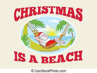 avkopplande, claus, fader, jultomten, strand, jul