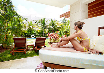 avkopplande, kvinna, hos, karibisk, resort.
