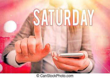 avkopplande, skrift, moment., helg, första, text, betydelse, tid, semester, fritid, begrepp, handstil, saturday., dag
