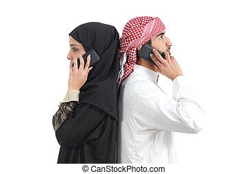 avlägsen, arab, par, yrke, tel