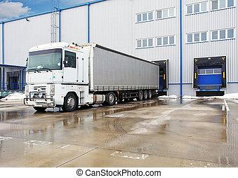 avlastning, stor, behållare, lastbilar, hos, lager, byggnad