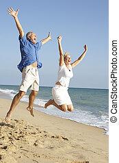 avnjut, par, luft, hoppning, senior, helgdag, strand