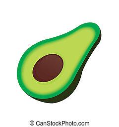 Avocado - abstract cartoon avocado on a white background