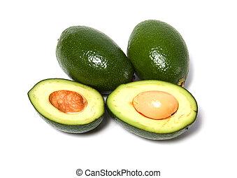 avocado, achtergrond, vrijstaand, witte