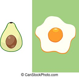 Avocado and Egg - vector avocado and egg