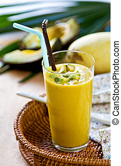 Avocado and Mango smoothie - Fresh Avocado with Mango...