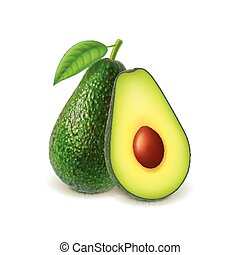 Avocado and slice isolated on white vector - Avocado and...