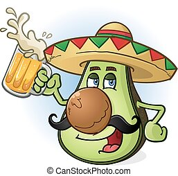 avocado, birra, messicano, cartone animato