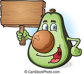 Avocado Cartoon Character Sign