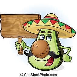 Avocado Cartoon Wooden Sign