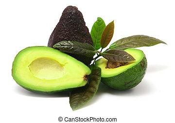 avocado, con, foglie