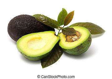 avocado, con, foglie, bianco, fondo