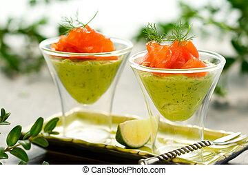 avocado cream and salmon