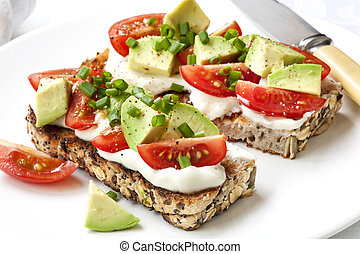 Avocado Cream Cheese and Tomatoes on Wholewheat Toast