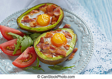 Avocado Egg Boats with bacon. Low carb high fat breakfast