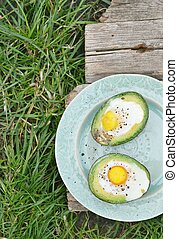 avocado, eitjes, bakt
