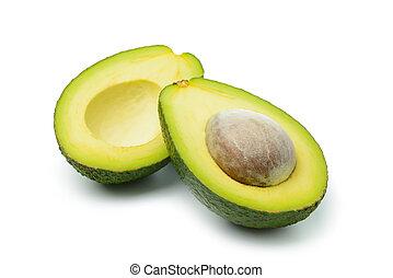 Fresh avocado in halved on white background