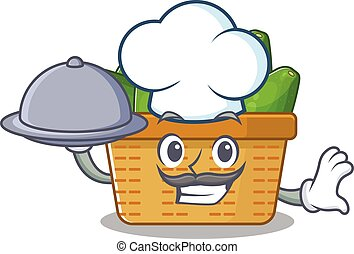 Avocado fruit basket as a chef cartoon character with food on tray