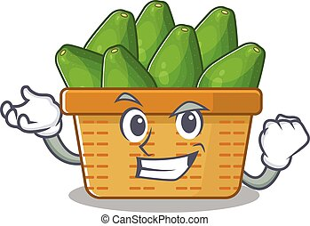 avocado fruit basket cartoon character style with happy face