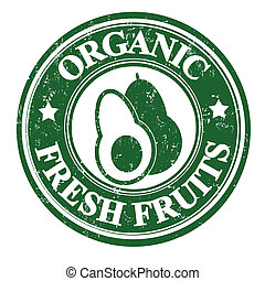 Avocado fruit stamp or label - Avocado organic fruit grunge...