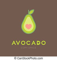 Avocado fruit with heart logo icon set design illustration isolated on brown background with Avocado text and copy space, vector eps10