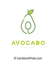 Avocado fruit with spoon logo icon outline stroke set design illustration isolated on white background with Avocado text and copy space, vector eps10