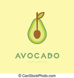 Avocado fruit with spoon logo icon set design illustration isolated on cream background with Avocado text and copy space, vector eps10