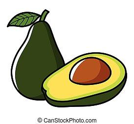 Avocado - Graphic illustration of avocado isolated on white