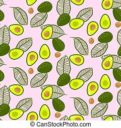 Avocado green on pastel pink seamless vector pattern.
