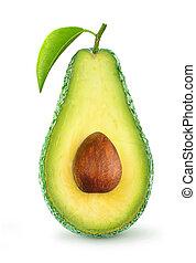 Half of avocado fruit isolated on white