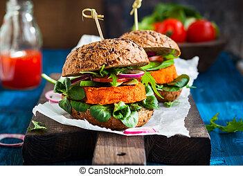 avocado, hamburger, carota, veggie