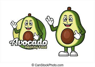 Avocado Healthy food vector design mascot