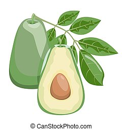 Avocado. Healthy lifestile - Avocado whole and cut into...