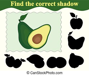 avocado., jeu, illustration, correct, education., vecteur, children., ombre, trouver