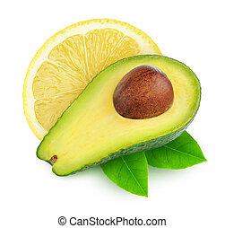 avocado, limone, isolato