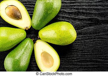 avocado, liscio, crudo, legno, nero, fresco