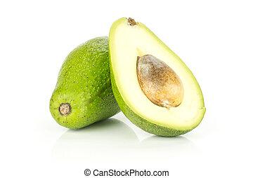 avocado, liscio, isolato, crudo, fresco, bianco