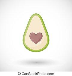 Avocado love vector flat icon