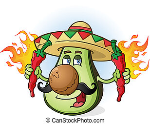 avocado, mexicaanse , spotprent, karakter