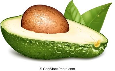 avocado, mit, kern, und, leaves.
