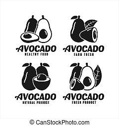 Avocado natural product vector design logo Collection
