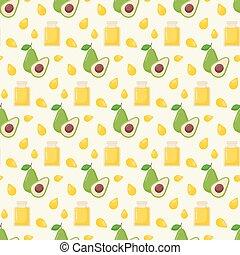 Avocado oil vector seamless pattern