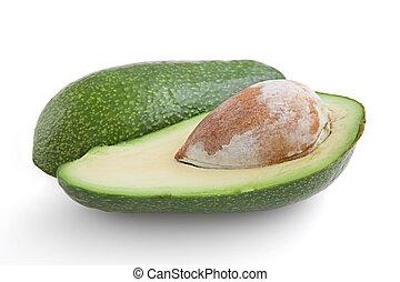 Avocado-oily nutritious fruit, isolated, macro