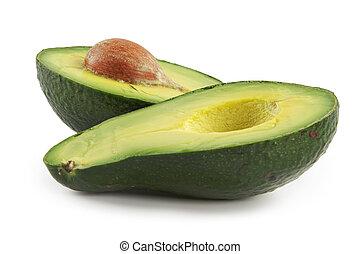 Avocado-oily nutritious fruit.Two fleshy halfs on white...