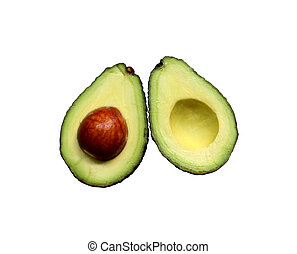 Avocado on a white background, Top view