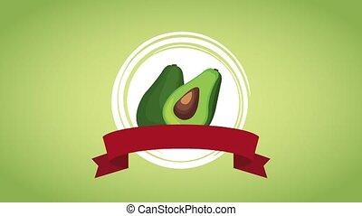 Avocado organic food HD animation - Avocado emblem with...