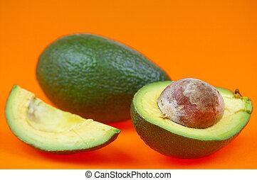 Avocado over orange