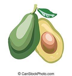 Avocado pieces set isolated on white background