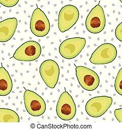Avocado seamless pattern sliced on white background, Fruits vector illustration