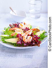 Avocado shrimp salad with mustard sauce